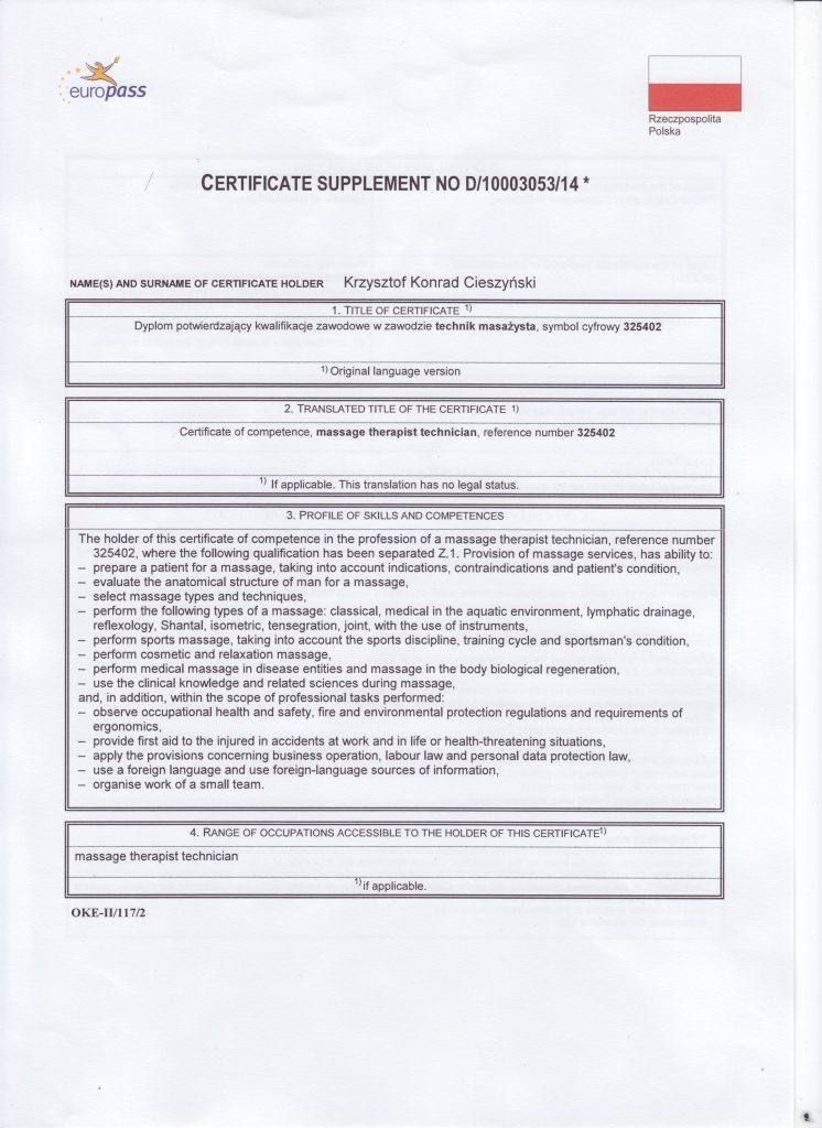 Certificate Supplement