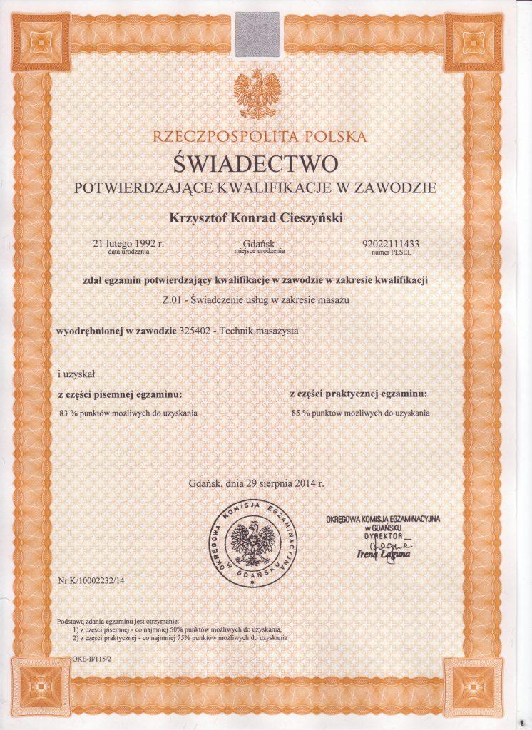 Swiadectwo Potwierdzjace Kwalifikacje w Zawodzie
